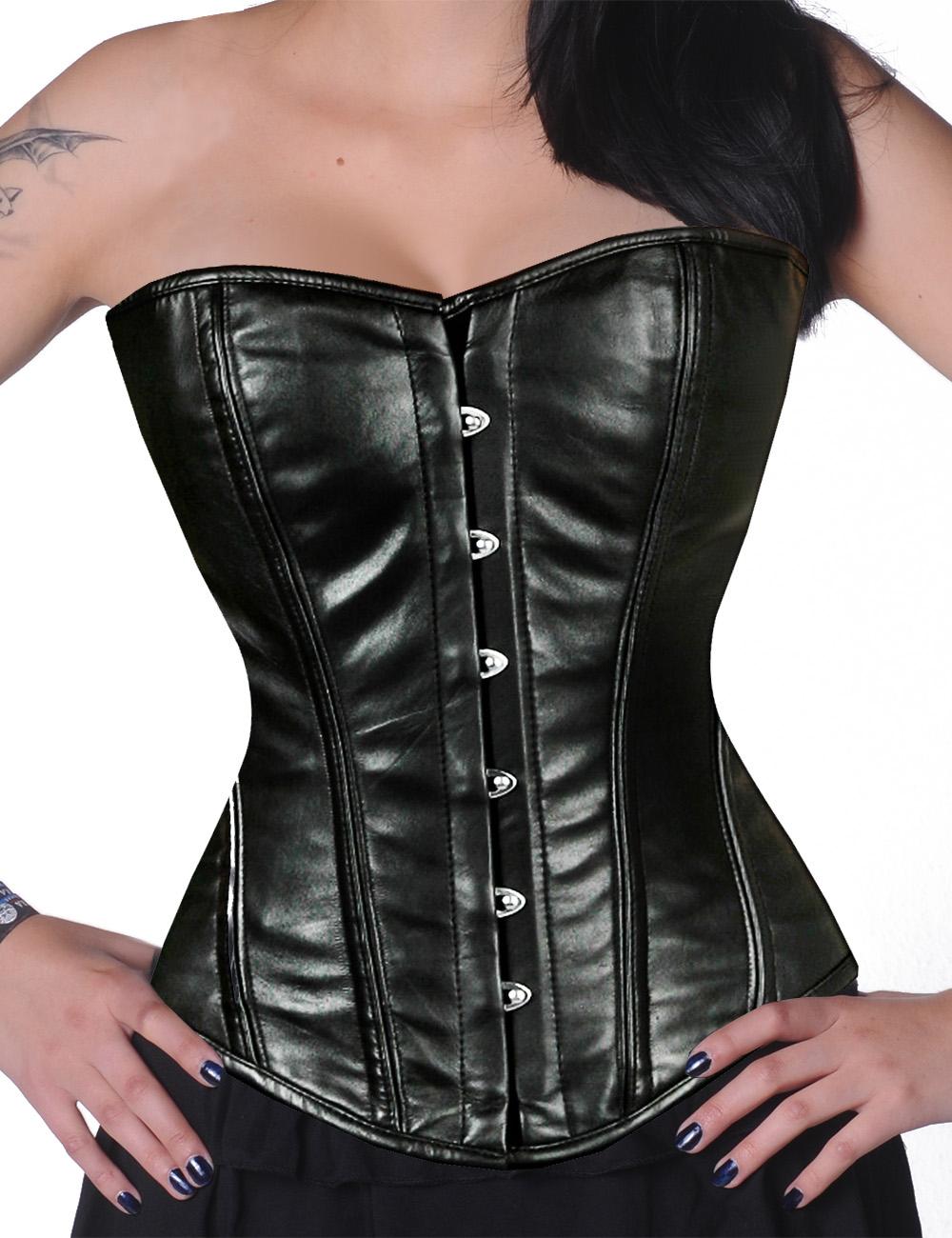 leder vollbrustkorsett schn r korsett schwarz corsage bodyshaper gothic xs 8 xxl ebay. Black Bedroom Furniture Sets. Home Design Ideas